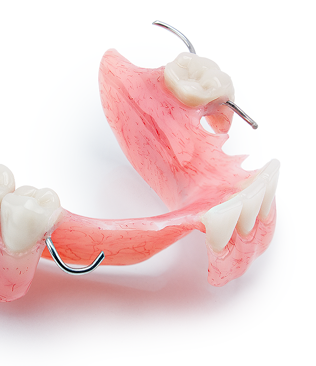 partial acrylic denture with clasps